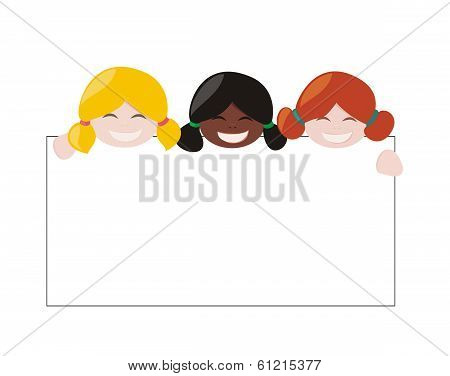 Vector multicultural girls holding white banner. Blond, ginger and black hair hostess smiling