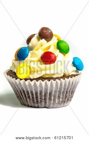 Yellow creamed cupcake