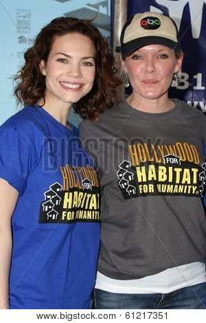LOS ANGELES - MAR 8:  Rebecca Herbst, Maura West at the 5th Annual General Hospital Habitat for Humanity Fan Build Day at Private Location on March 8, 2014 in Lynwood, CA
