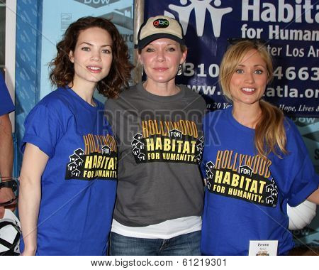 LOS ANGELES - MAR 8:  Rebecca Herbst, Maura West, Emme Rylan at the 5th Annual General Hospital Habitat for Humanity Fan Build Day at Private Location on March 8, 2014 in Lynwood, CA