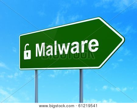 Security concept: Malware and Opened Padlock on road sign background