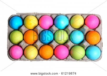 Carton of Colored Easter Eggs