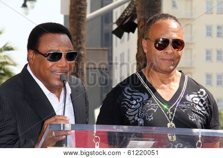 LOS ANGELES - MAR 6:  George Benson, Ray Parker Jr at the Ray Parker Jr Hollywood Walk of Fame Star Ceremony at Walk of Fame on March 6, 2014 in Los Angeles, CA