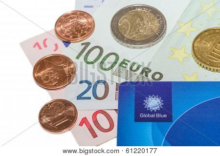 Global Blue Company Tax Free Plastic Card With Euro