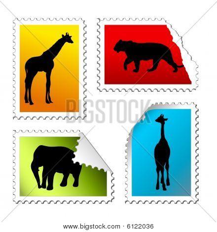 Set Of Safari Post Stamps