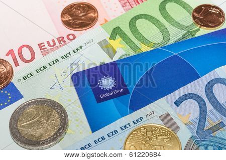 European Currency Notes And Coins With Tax Free Plastic Card