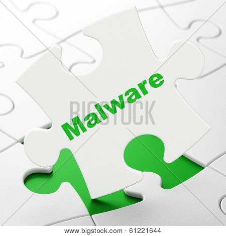 Security concept: Malware on puzzle background