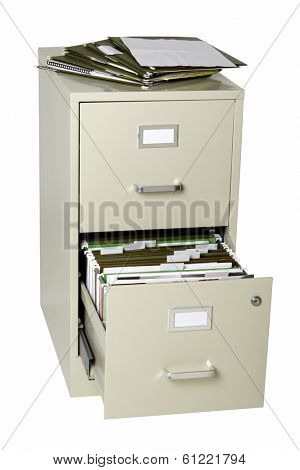 File cabinet with open drawer on white