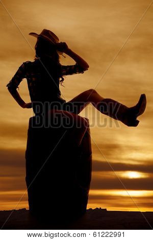 Silhouette Cowgirl On Barrel Look Side