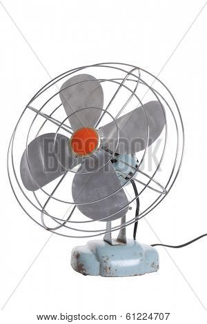 Retro electric fan on white