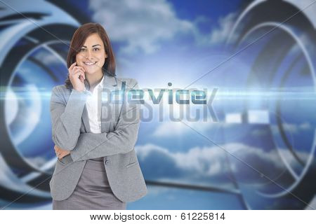 The word device and smiling thoughtful businesswoman against clouds in a futuristic structure