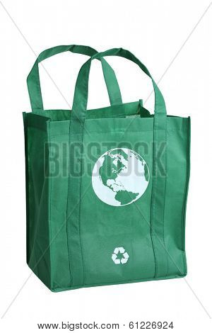 Green reusable shopping bag, cut out on white background