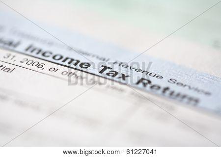 closeup of tax form