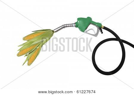 Corncobs coming out of a gas pump