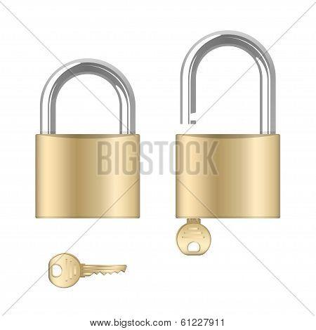 Locked and unlocked padlocks with keys