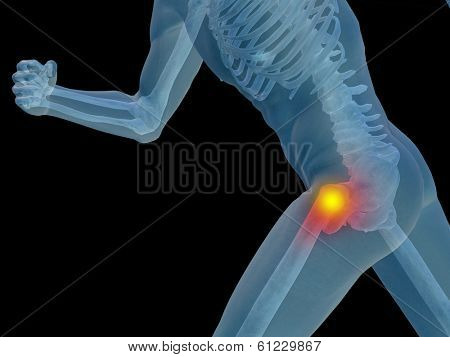 Conceptual 3D human man anatomy or health design, joint or articular pain, ache or injury isolated on black background