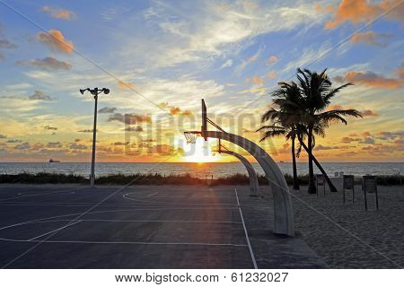 Sunrise Over Basketball Courts