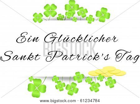 Board With Greetings On St. Patrick's Day With Four-leaf Clovers And Gold Coins