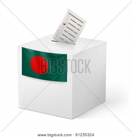 Ballot box with voting paper. Bangladesh
