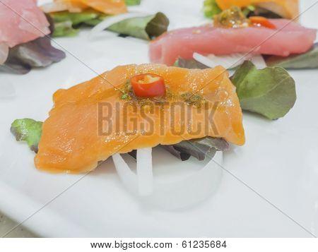 Fusion Japanese Food, Fish With Chili Garlic Hot Sauce