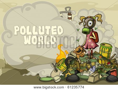 Child in a gas mask standing on a pile of garbage. With space for text side