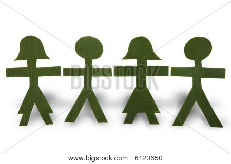 Green People In A Chain