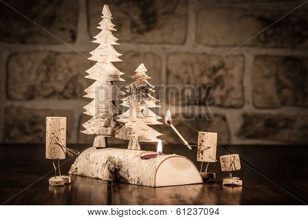 Wine Cork Figures, Concept Candlelight And Family