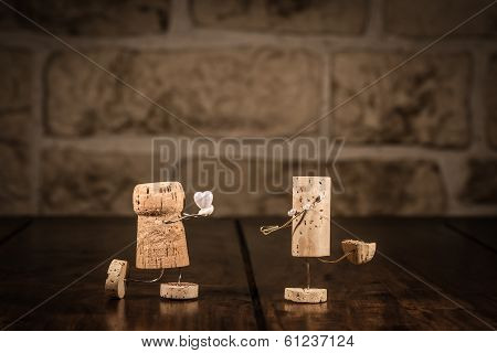 Wine Cork Figures, Concept Marriage Proposal