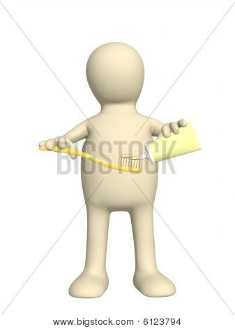 3D Puppet With Toothbrush