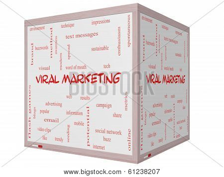 Viral Marketing Word Cloud Concept On A 3D Cube Whiteboard