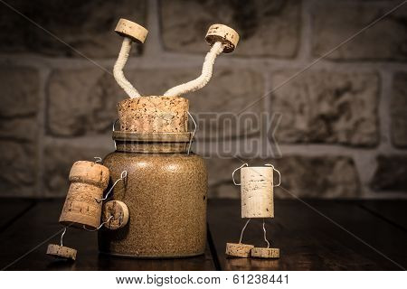 Wine Cork Figures, Concept Stucking In A Pot