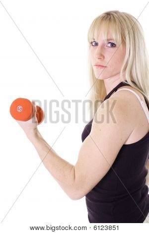blonde girl curling