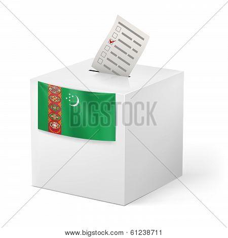 Ballot box with votng paper. Turkmenistan