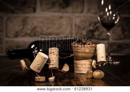 Wine Cork Figures, Concept Party With A Lot Of Alkohol