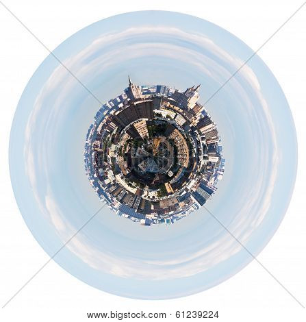 Urban Planet With Spherical Cityscape