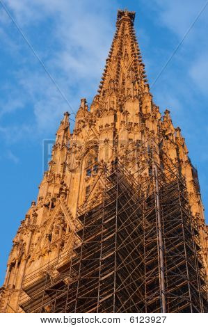 Spire With Scaffolding Of The St. Stephen´s Cathedral In Vienna, Austria