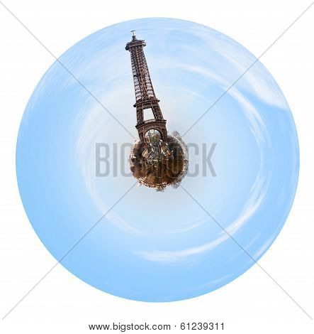 Spherical View Of Paris With Big Eiffel Tower