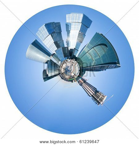 Spherical Panorama Of Moscow City Under Blue Sky