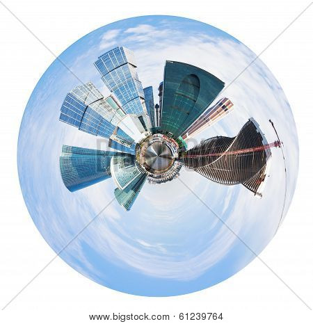 Spherical Panorama Of Moscow City Towers