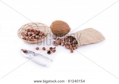 Nuts And Coconut With Nutcracker