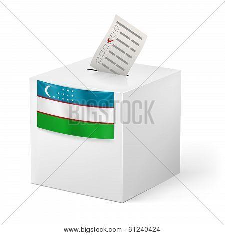 Ballot box with voting paper. Uzbekistan