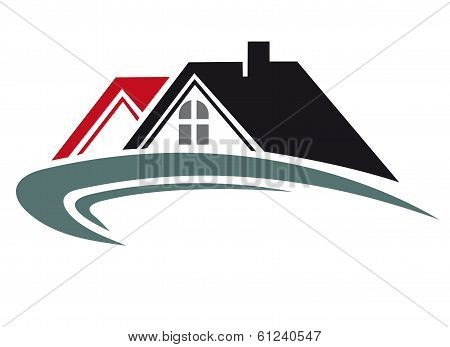 Real estate icon with house roof