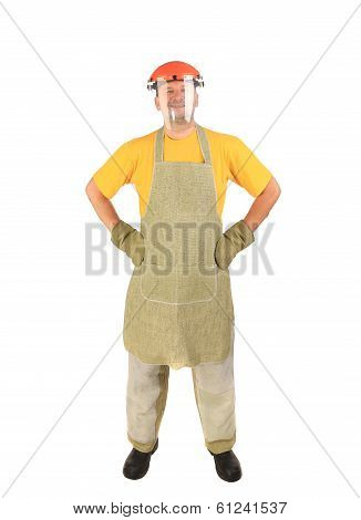 Welder with plastic protective face and apron.