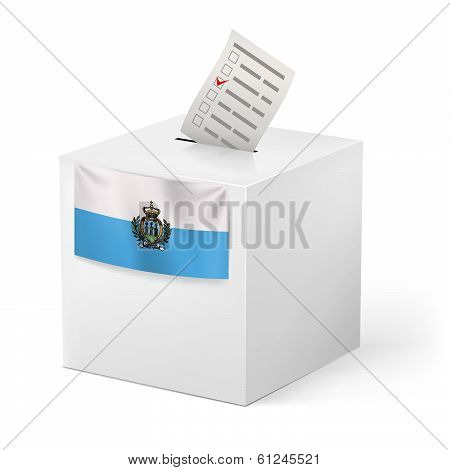Ballot box with voting paper. San Marino
