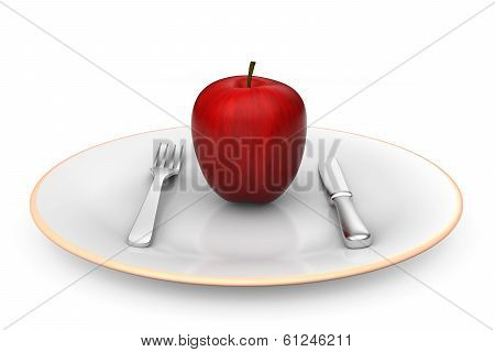 Apple on dish