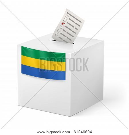 Ballot box with voting paper. Gabonese Republic