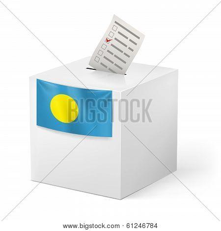 Ballot box with voting paper. Palau
