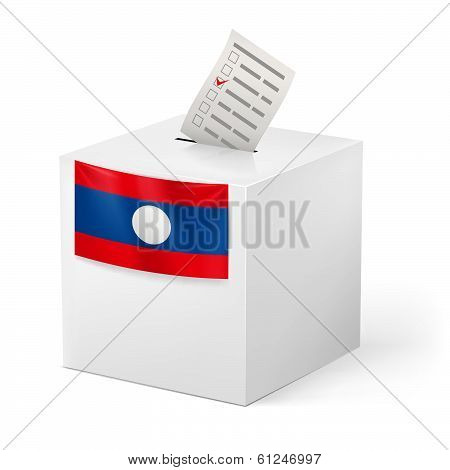 Ballot box with voting paper. Laos