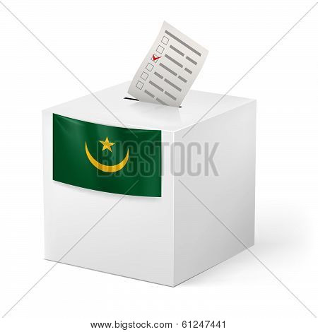 Ballot box with voting paper. Mauritania