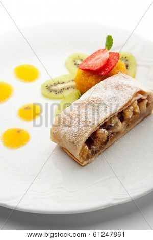 Apple Strudel Served with Fruits Ice Cream